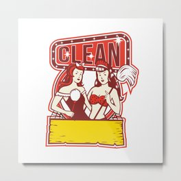 Twin Cleaners Clean 1950s Retro Metal Print