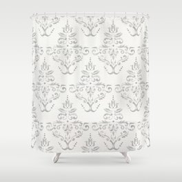 Hand Painted Watercolor Damask Pattern - Light Neutral Gray Shower Curtain