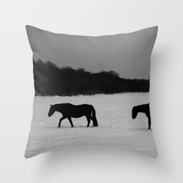 Horses On Snow Throw Pillow