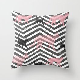 Pitter Patter on Soft Cat Paws Throw Pillow