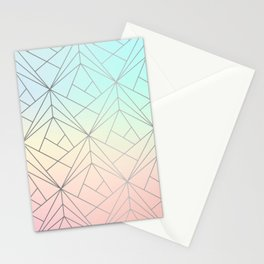 Geometric Silver Pattern on Pastel Gradient Stationery Cards