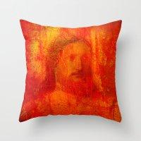 jesus Throw Pillows featuring Jesus by Ganech joe