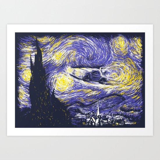 Starry Delorean Art Print