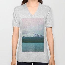 Mountain Lake - Nature Photography - Turquoise Teal Pink Unisex V-Neck