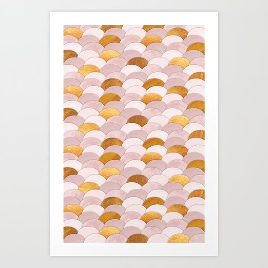 Her Scales, Her Skin in Pink Art Print