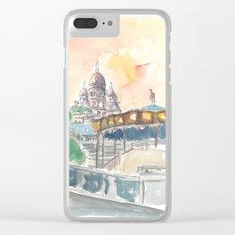 Paris France Montmartre Sunset At Sacre Coeur Clear iPhone Case