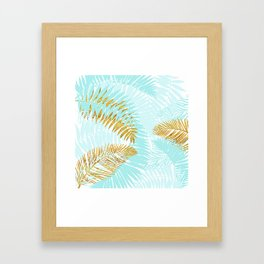 Aloha - Tropical Palm Leaves and Gold Metal Foil Leaf Garden Framed Art Print