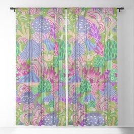 Wonderland poison mushrooms mix - colormix Sheer Curtain