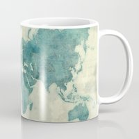 vintage map Mugs featuring World Map Blue Vintage by City Art Posters