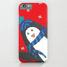 Cheerful Holiday Penguin iPhone Case