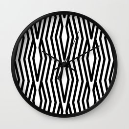 Geometric Retro Stripes Black and White Abstract Modern Wall Clock
