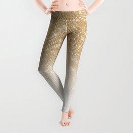 Glamorous Gold Glitter Sequin Ombre Gradient Leggings