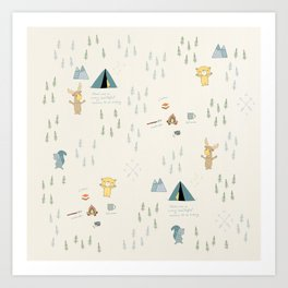 Camping with friends - Bear, Moose & Squirrel Art Print