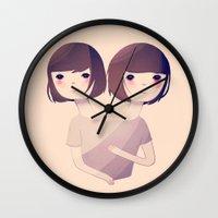 sisters Wall Clocks featuring Sisters by Nan Lawson