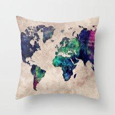 World map watercolor 1 Throw Pillow