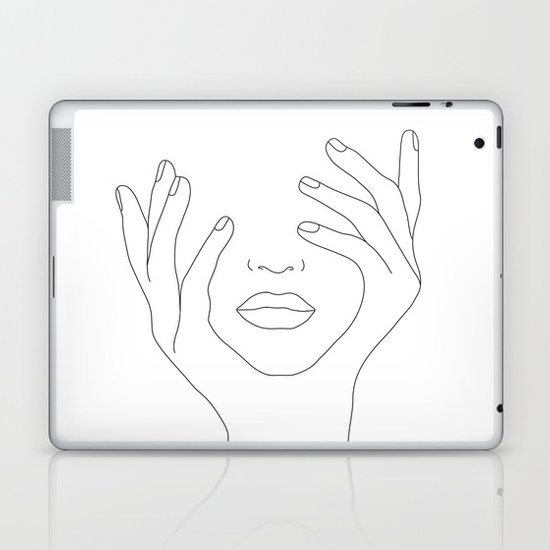 Minimal Line Art Woman with Hands on Face by nadja1