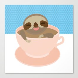 Sloth in a Pink cup coffee, tea, Three-toed sloth Canvas Print