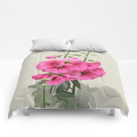 Pink flowers, watercolors Comforters
