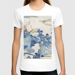 Fuji no Yukei by Utagawa Kuniyoshi (1798-1861) translated An Evening View of Fuji a traditional Japanese ukiyo-e style  of the stream of Asazawa in spring with view of Mount Fuji from the hot springs at Hakone T-shirt