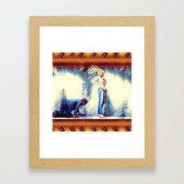 Falling Behind Framed Art Print