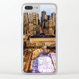 Window out to New York City at Christmas Clear iPhone Case