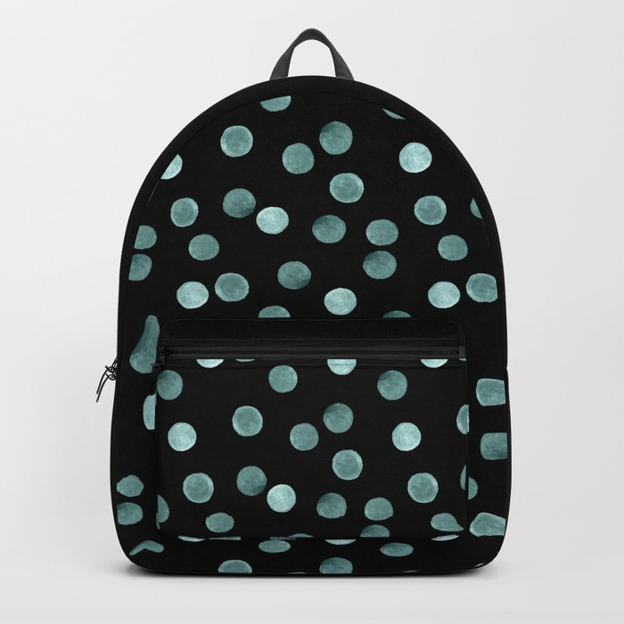 Blue polka dots on a black background . Watercolor pattern . Backpack