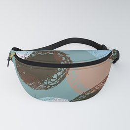 Graphic Seed Pods Turquoise and Brown Fanny Pack