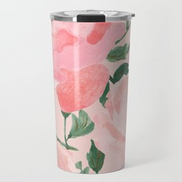Watercolor Peonies with Blush Background Travel Mug