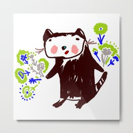 A little otter with flowers Metal Print
