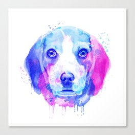 Beagle watercolor, Watercolor beagle, Watercolor dog, Beagle portrait Canvas Print