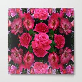 GARDEN ART OF FUCHSIA PINK ROSES Metal Print