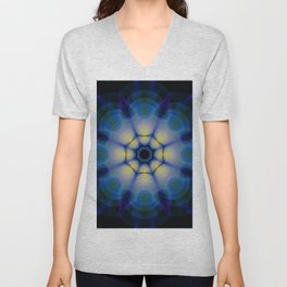 blue kaleidoscope or blue mandala Unisex V-Neck