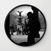 central park Wall Clocks featuring Central Park by Julian Clune