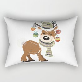 Christmas deer, with baubles in horns. Pretty childish design Rectangular Pillow