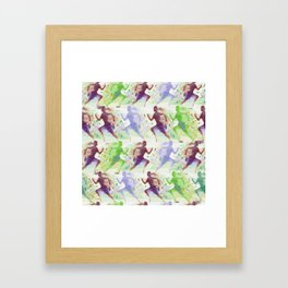 Watercolor women runner pattern Brown green blue Framed Art Print