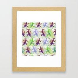 Watercolor women runner pattern Brown green blue Framed Art Print