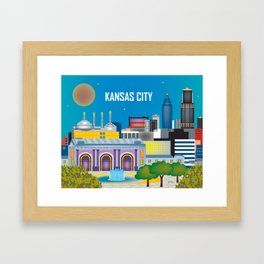 Kansas City, Missouri - Skyline Illustration by Loose Petals Framed Art Print