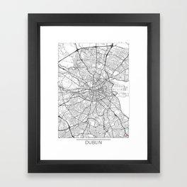 Dublin Map White Framed Art Print