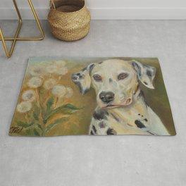 Dalmatian Dog portrait on the landscape paintingdog Rug