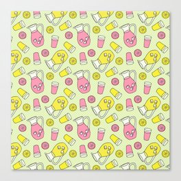 Summer Doodle - Pink and Yellow Lemonade Pattern Canvas Print