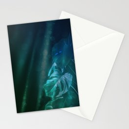 Midnight Jungle Magic Monstera Leaves Stationery Cards