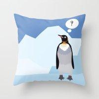penguin Throw Pillows featuring Penguin by Nir P
