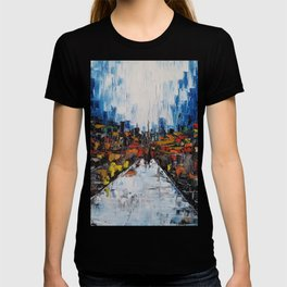 City of Reflections, NYC art, abstract city, city scape, colorful city T-shirt