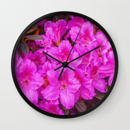 Pink Azaleas -painted Wall Clock