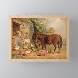Charles Bryant, famr animals Framed Mini Art Print