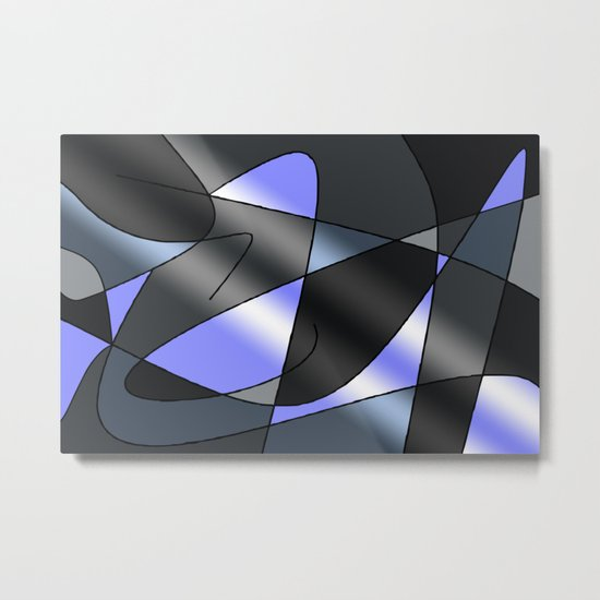 ABSTRACT CURVES #2 (Greys & Light Blue) Metal Print