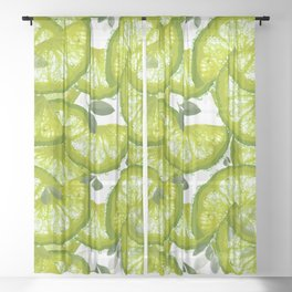 Lime Slices and Green Leaves on White Background  #decor #society6 #buyart Sheer Curtain