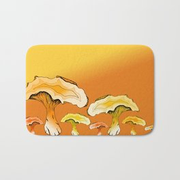 Chanterelle Mushroom, Hand drawn, Pen and Ink, Food, Nature Bath Mat