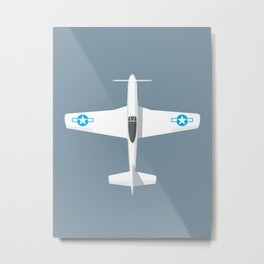 P-51 Mustang Fighter Aircraft - Slate Metal Print