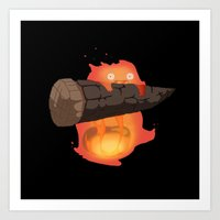 calcifer Art Prints featuring Calcifer by Oujo